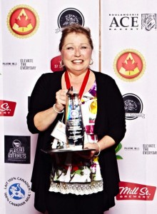 Marie-Claude Harvey of Fromagerie FX Pichet with her haul of awards.